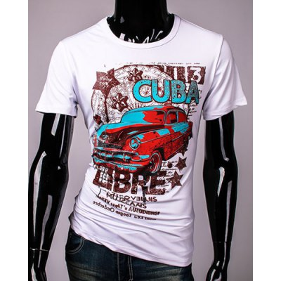 Hot Sale Cartoon Car and Letters Print Round Neck Short Sleeves 3D Printed T-Shirt For Men