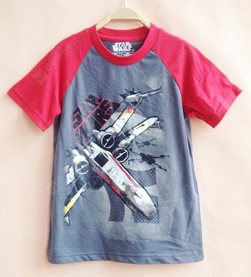 Casual Short Sleeve Round Neck Color Block Cartoon Boy's T-Shirt 110 RED