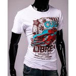 cheap Hot Sale Cartoon Car and Letters Print Round Neck Short Sleeves 3D Printed T-Shirt For Men