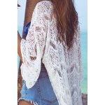 Stylish 3/4 Sleeve Mesh Long Cover Up For Women deal