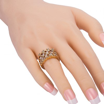 Vintage Faux Crystal Rhinestone Rectangle Ring For Women