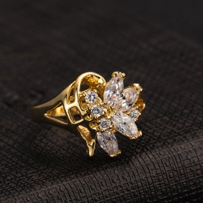 Фотография Characteristic Rhinestone Flower Hollow Out Ring For Women
