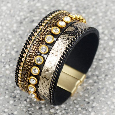 Chic Punk Rhinestone Faux Leather Chunky Leopard Print Bracelet For WomenBracelets &amp; Bangles<br>Chic Punk Rhinestone Faux Leather Chunky Leopard Print Bracelet For Women<br><br>Item Type: Charm Bracelet<br>Gender: For Women<br>Chain Type: Leather Chain<br>Style: Trendy<br>Shape/Pattern: Others<br>Length: 19CM<br>Weight: 0.090KG<br>Package Contents: 1 x Bracelet