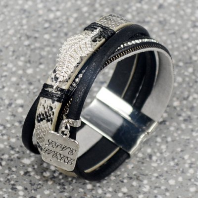 Chic Faux Leather Multilayered Rhinestoned Leaf Decorated Bracelet For Women