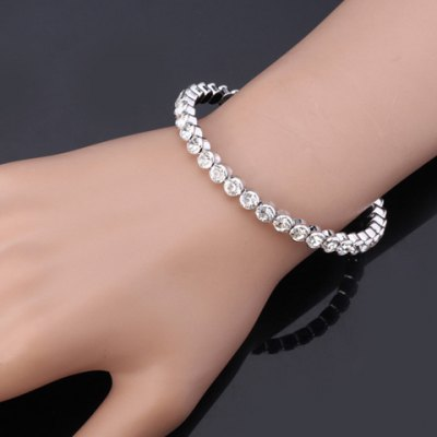 Graceful Rhinestoned Round Bracelet For WomenBracelets &amp; Bangles<br>Graceful Rhinestoned Round Bracelet For Women<br><br>Item Type: Cuff Bracelet<br>Gender: For Women<br>Chain Type: Link Chain<br>Style: Romantic<br>Shape/Pattern: Round<br>Length: 6.5CM (Diameter)<br>Weight: 0.050KG<br>Package Contents: 1 x Bracelet