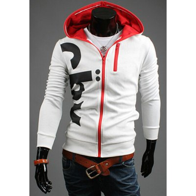 Casual Slim Fit Zipper Decorated Printed Hoodie For Men