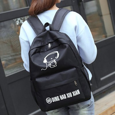 Simple Nylon and Zip Design Backpack For Women
