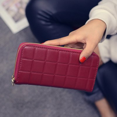Fashion PU Leather and Plaid Design Wallet For Women