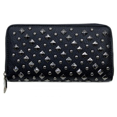 Stylish Rivets and PU Leather Design Wallet For Women