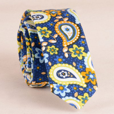 Ethnic Paisley and Flower Pattern 5CM Width Blue Tie For Men