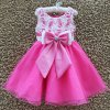 Buy Sweet Sleeveless Round Neck Lace Spliced Bowknot Girl's Dress-15.67 Online Shopping GearBest.com