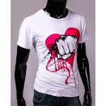 cheap Funny Fist and Heart Print Slimming Round Neck Short Sleeves T-Shirt For Men