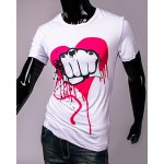 Funny Fist and Heart Print Slimming Round Neck Short Sleeves T-Shirt For Men deal