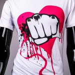 best Funny Fist and Heart Print Slimming Round Neck Short Sleeves T-Shirt For Men