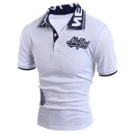 cheap Turn-Down Collar Letters Jacquard Appllique Embellished Short Sleeve Men's Polo-Shirt