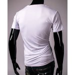 White Round Neck Letters Geometric Print Short Sleeves T-Shirt For Men for sale