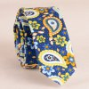 Stylish Ethnic Paisley and Flower Pattern 5CM Width Blue Tie For Men