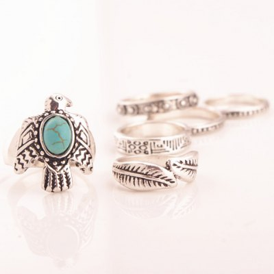 A Suit of Retro Turquoise Dove Leaf Carving Rings For Women