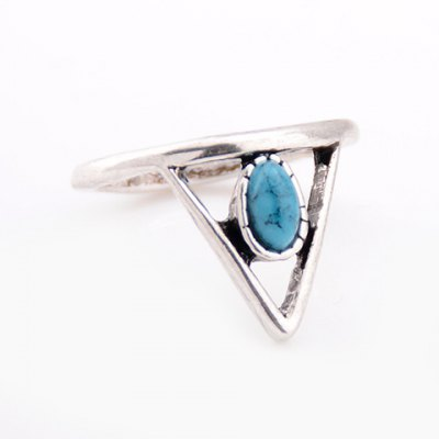 Faux Turquoise Triangle Hollow Out Ring