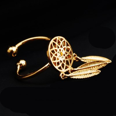 Round Hollow Out Feather Shape Pendant Ring
