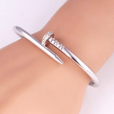 Chic Platinum Plated Fancy Nail Shape Cuff Bracelet For Women