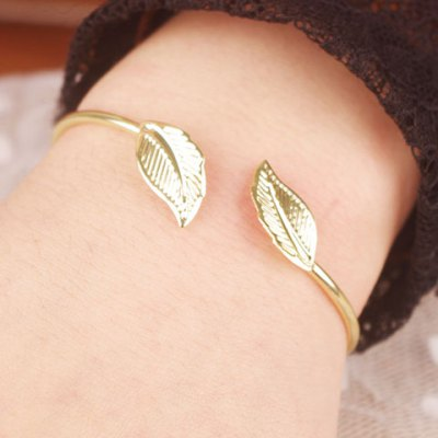 Graceful Solid Color Leaf Cuff Bracelet For Women