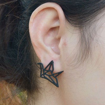 Pair of Retro Paper Crane Hollow Out Earrings