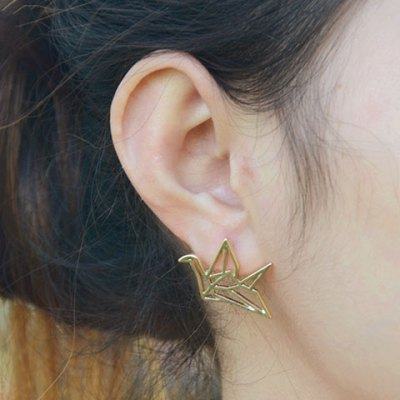 Pair of Cute Paper Crane Hollow Out Earrings For Women