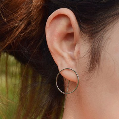 Pair of Simple Style Round Hollow Out Earrings For Women
