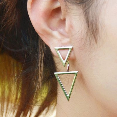 Фотография Pair of Vintage Solid Color Triangle Hollow Out Earrings For Women