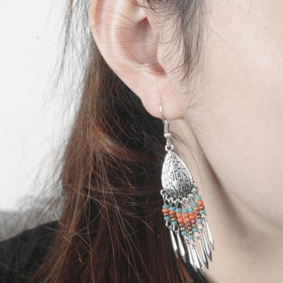 Pair of Bohemian Style Water Drop Beads Earrings For Women