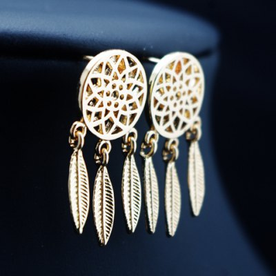 Pair of Round Hollow Out Feather Drop Earrings