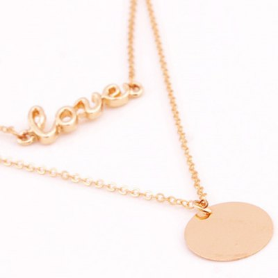 Фотография Chic Multilayered Metal Round Pendant Letter Necklace For Women