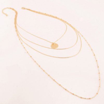 Chic Round Pendant Multi-Layered Link Chain Necklace For Women