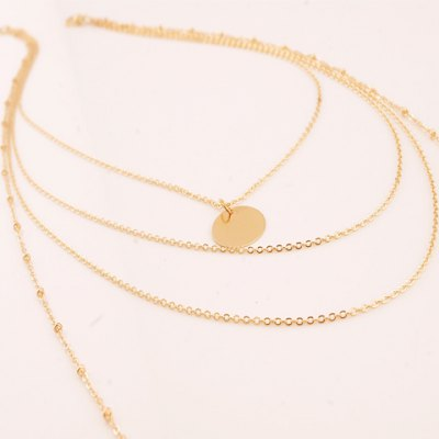 Фотография Chic Round Pendant Multi-Layered Link Chain Necklace For Women