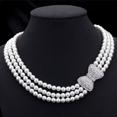 Elegant Rhinestoned Bowknot Three-Layered Faux Pearl Necklace For Women