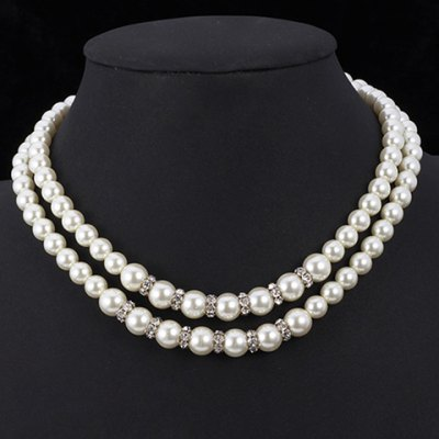 Elegant Rhinestone Two-Layered Faux Pearl Necklace For Women