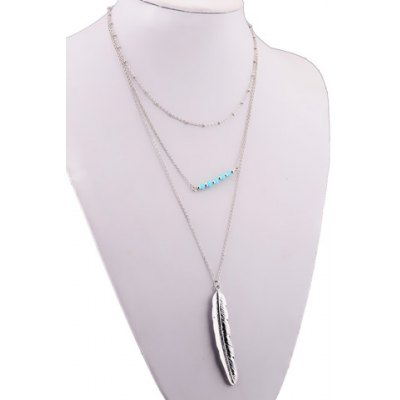 Chic Multilayered Metal Feather Pendant Necklace For Women