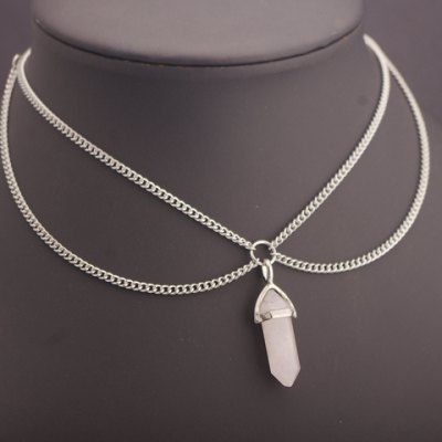 Chic Faux Crystal Pendant Two-Layered Link Chain Necklace For Women