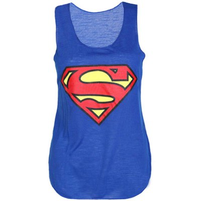 Stylish Scoop Neck Sleeveless Printed Batman Tank Top For Women