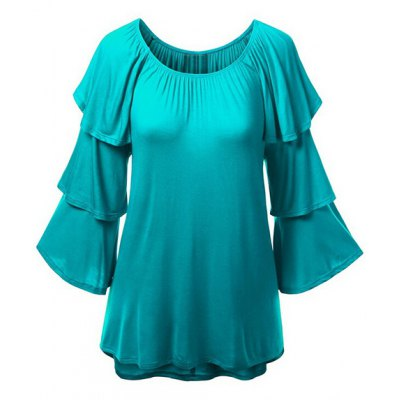 Charming Solid Color Layered 3/4 Sleeve Flounced T-Shirt For Women