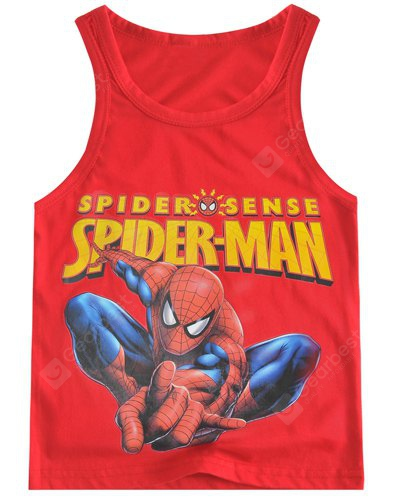 Fashionable Sleeveless Cartoon Spider-Man Print Tank Top Boy 140 RED