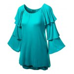 cheap Charming Solid Color Layered 3/4 Sleeve Flounced T-Shirt For Women