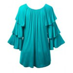 Charming Solid Color Layered 3/4 Sleeve Flounced T-Shirt For Women deal