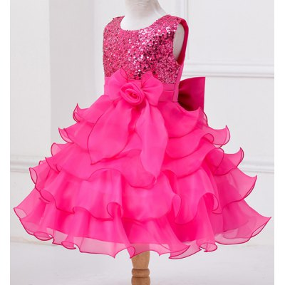 Cute Sleeveless Sequins Embellish Multilayered Ball Gown Dress For Girl