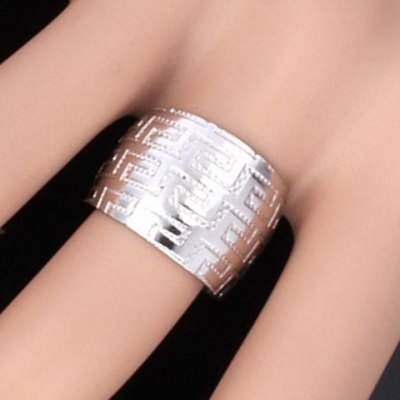 Stainless Steel The Great Wall Carving Chunky Cuff Ring