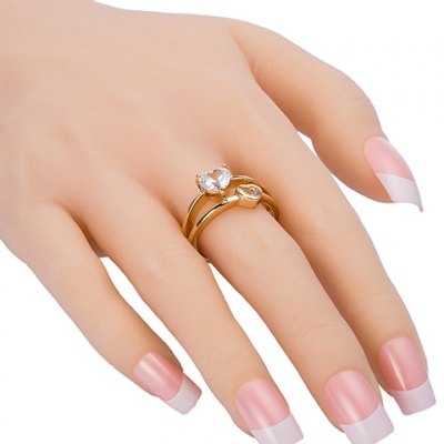 Exquisite Rhinestone Heart Shape Two-Layered Ring For WomenRings<br>Exquisite Rhinestone Heart Shape Two-Layered Ring For Women<br><br>Gender: For Women<br>Metal Type: Copper<br>Style: Trendy<br>Shape/Pattern: Heart<br>Diameter: 1.7CM<br>Weight: 0.054KG<br>Package Contents: 1 x Ring