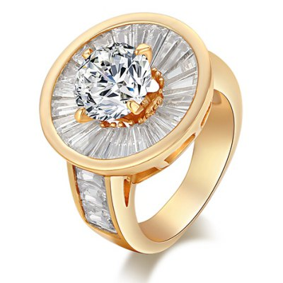 Exquisite Round Shape Rhinestone Decorated Ring For Women