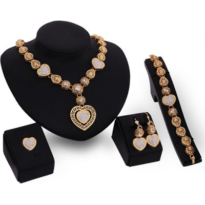 A Suit of Noble Rhinestone Heart Necklace Bracelet Ring and Earrings For Women