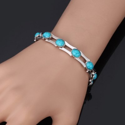 Oval Faux Turquoise Bamboo Bracelet